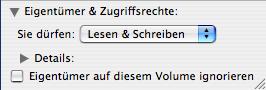 Mac OS X Eigentümer auf diesem Volumen ignorieren