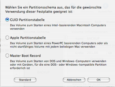 GUID-Partition für Backup der Machintosh_HD anlegen