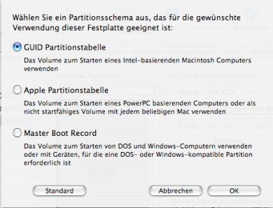 GUID-Partition für Backup der Machintosh_HD anlegen