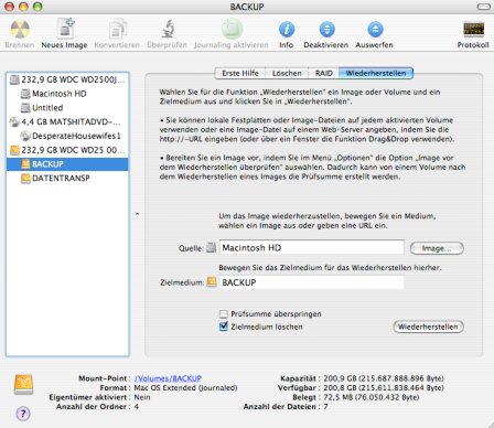 Backup Macinstosh HD auf externe Festplatte