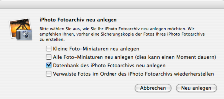 Neuaufbau der iPhoto Datenbank (Library6.iphoto)